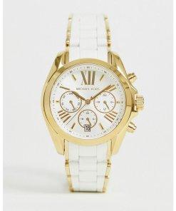 Michael Kors - MK6578 - Damen-Chronograph-Armbanduhr in Weiß und Gold - Gold