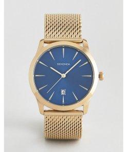 Sekonda - Uhr mit Netzarmband in Gold mit kontrastierendem Zifferblatt - Gold
