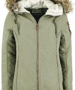 Urban Surface Ladies Lace Parka Girl-Winter-Jacke oliv