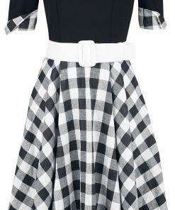 Belsira Schulterfreies Swing-Kleid Kleid schwarz/weiß