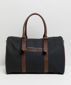 ASOS DESIGN - Reisetasche aus Melton mit Besatz aus Kunstleder - Grau