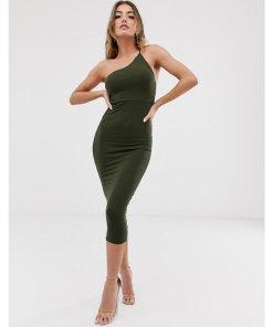 ASOS DESIGN - Going Out - figurbetontes Midikleid mit One-Shoulder-Träger - Grün