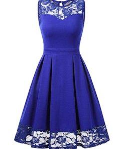 KOJOOIN Damen Elegant Kleider Spitzenkleid Ohne Arm Cocktailkleid Knielang Rockabilly Kleid Empire Blau