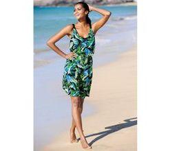 Damen Strandkleid Alba Moda schwarz-grün