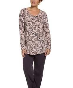Ulla Popken Pyjama, Oberteil geblümt, reine Baumwolle - Große Größen 707283
