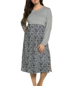 Ulla Popken Nachthemd, Blüten, Zier-Knopfleiste, Seitenschlitze - Große Größen 713309