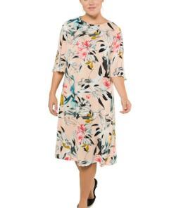 Ulla Popken Kleid, gemustert, A-Linie, Glockenärmel, Krepp - Große Größen 716294