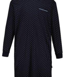 Ulla Popken Herren-Nachthemd, gemusterter Jersey, V-Ausschnitt - Große Größen 718080
