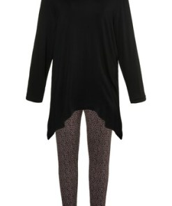 Ulla Popken Pyjama, Leomuster, Zipfelsaum, Stretchkomfort - Große Größen 719060