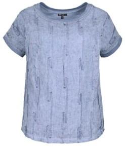 Ulla Popken Shirt, Leinen mit Ziernähten, Halbarm, Rücken aus Baumwolle - Große Größen 719919