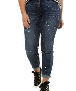 Ulla Popken Skinny Jeans, Farbspritzer, Unikat-like, schmale 5-Pocket - Große Größen 721369