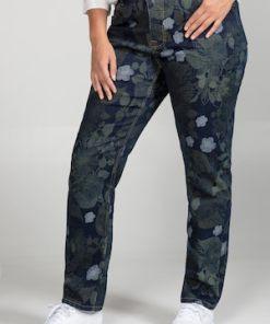 Ulla Popken Jeans Sammy, Blumenmuster, schmale 5-Pocket-Form - Große Größen 724602