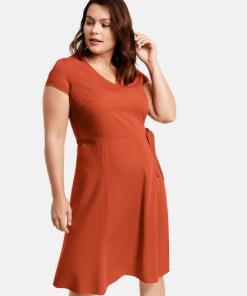 Kleid mit Wickel-Optik Orange 42/M