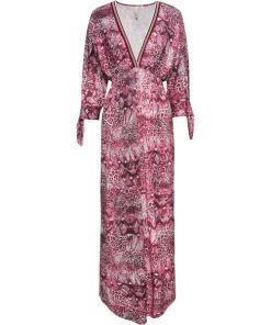 Maxikleid mit V-Ausschnitt langarm in pink für Damen von bonprix