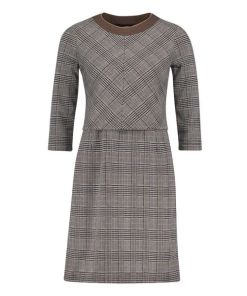 Betty Barclay Karo-Kleid mit 3/4 Arm in Black/Camel , Kariert , Feminin