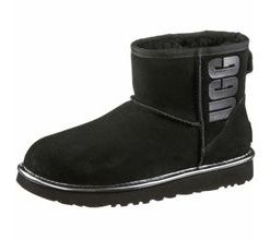 Ugg Classic Mini Rubber Stiefel Damen in black metallic, Größe 36