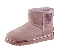 Ugg Classic Mini Rubber Stiefel Damen in pink crystal metallic, Größe 39