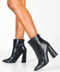 Womens Ankle Boots in Schlangenlederoptik mit ausgestelltem Absatz - schwarz - 39, Schwarz