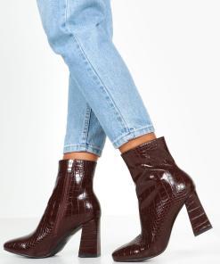 Womens Ankle Boots mit Blockabsatz in Kroko-Optik - Braun - 36, Braun