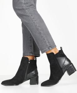Womens Ankle Boots mit Kroko-Einsatz und Blockabsatz - schwarz - 36, Schwarz