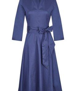 Daniel Hechter Schönes Kleid mit breitem Bindegürtel blau