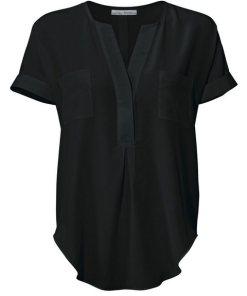 heine TIMELESS Seidenbluse mit aufgesetzten Taschen schwarz