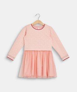 Esprit Sweat-Kleid mit Mesh-Rock rosa