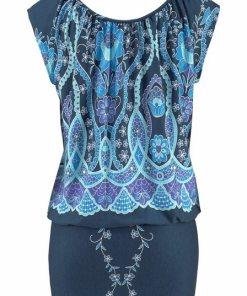 Buffalo Longshirt mit Ethnomuster blau