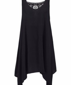LASCANA Strandkleid mit Häkelspitzeneinsatz schwarz