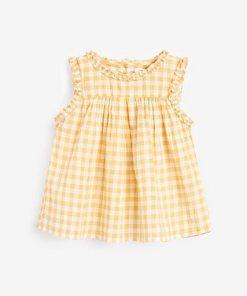 Next Ärmellose Bluse aus Baumwolle gelb