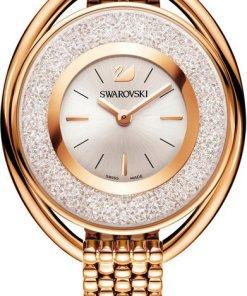 Swarovski Schweizer Uhr »Crystalline Oval Uhr  Metallarmband  weiss  roséfarben  5200341«