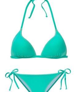 Buffalo Triangel-Bikini mit Häkelkante und Push-Up-Effekt grün