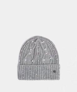 Esprit Strukturstrick-Mütze mit Perlen grau
