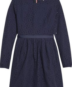 Tommy Hilfiger Kleid »SIGNATURE LACE DRESS L/S« blau