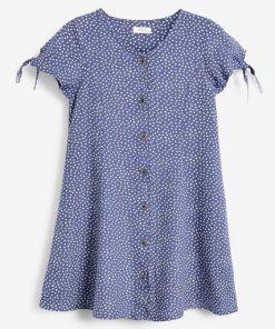 Next Geknöpftes Kleid mit gebundenen Ärmeln blau