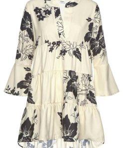 LASCANA Blusenkleid in weiter Form mit Volants natur