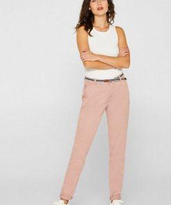 Esprit Stretch-Chino mit Organic Cotton rosa