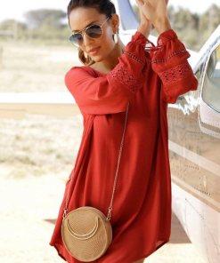 LASCANA Blusenkleid mit Spitzeneinsätzen am Ärmel rot