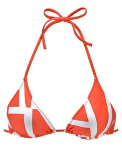 Calvin Klein Triangel-Bikini-Top  mit kontrastfarbenem Druck orange