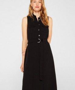 Esprit Mit Leinen: Midi-Kleid im Utility-Style schwarz