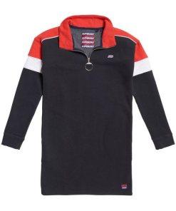 Superdry Sweatkleid »PANEL ZIP SWEAT DRESS« im angesagten Colourblocking-Design blau