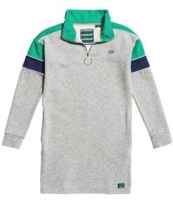 Superdry Sweatkleid »PANEL ZIP SWEAT DRESS« im angesagten Colourblocking-Design grau