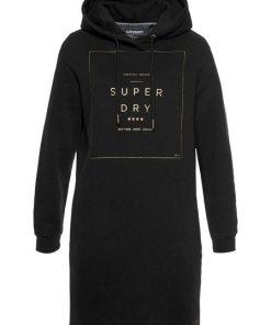 Superdry Sweatkleid »OVERSIZED SCANDI HOODED DRESS« mit goldfarbener Logoapplikation schwarz
