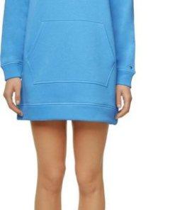 TOMMY HILFIGER Sweatkleid »TH ESS HOODED DRESS LS« mit Tommy Hilfiger Logo-Stickerei & großer Kängurutasche blau