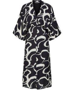 SELECTED FEMME Kimono Midikleid schwarz