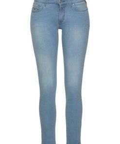 Replay Skinny-fit-Jeans »LUZ« mit Used-Kante am Saum blau