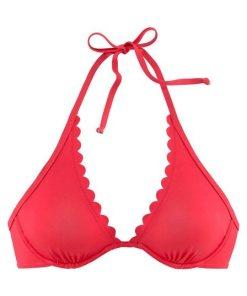 LASCANA Bügel-Bikini-Top »Scallop«  mit gelaserter Wellenkannte rot