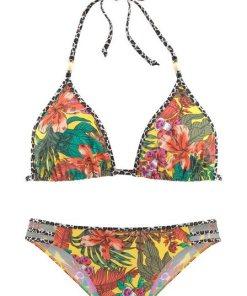 Bruno Banani Triangel-Bikini mit Mustermix und Zierperlen gelb