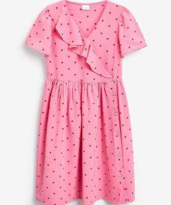 Next Mittellanges Wickelkleid mit Rüschen rosa