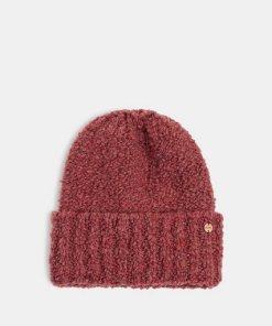 Esprit Mit Wolle und Alpaka: Mütze aus Bouclé rosa